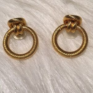 """Vintage Gold Knotted Rope Pierced Earrings 1"""""""